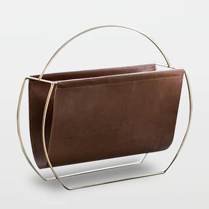 Contemporary hoxton leather and metal magazine rack
