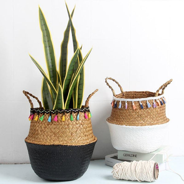 Natural seagrass storage baskets for plants or accessories