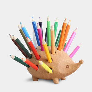 Hedgehog wooden pen and pencil holder