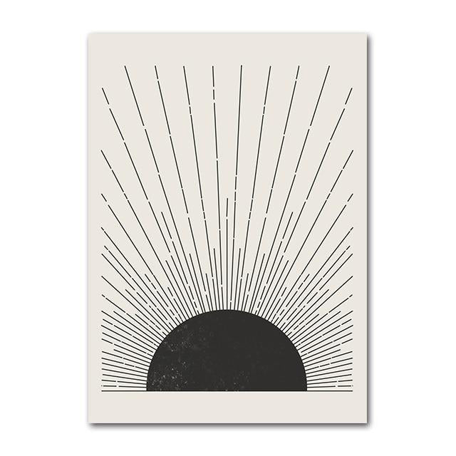 Black and White Graphic Sun Art Prints - Mid Century Style
