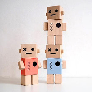 Wooden block modern retro toy robots ornament - Pink, Blue, Grey, White