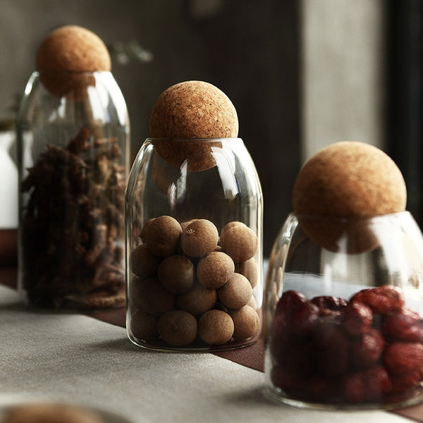 Modern cork ball glass kitchen storage jars - 500ml, 800ml, 1000ml