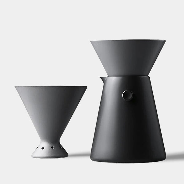 contemporary grey ceramic pourover drip coffee making set