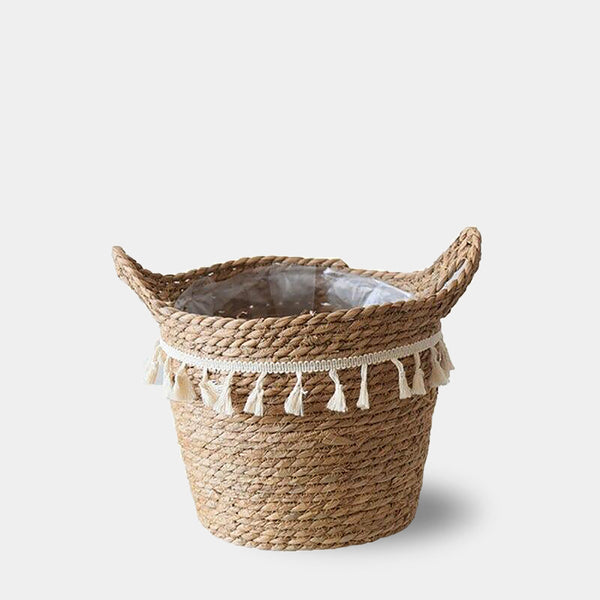 Natural seagrass tassel plant pot baskets
