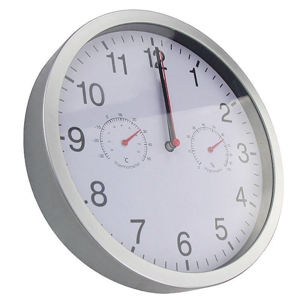 Minimalist wall clock with thermometer and hygrometer