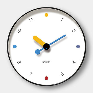 Large contemporary stylish colour dot wall clock - 25cm, 30cm