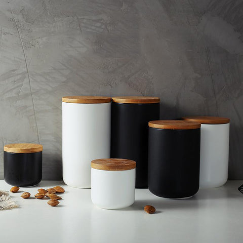 Black and White matt ceramic storage jars