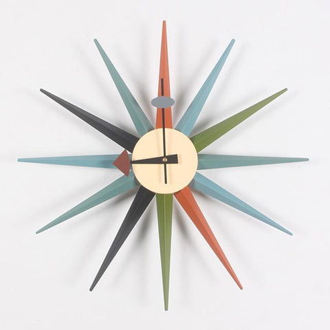 Sunburst multi coloured wall clock