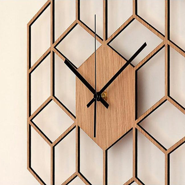 Hexagon wooden mid-century style wall clock