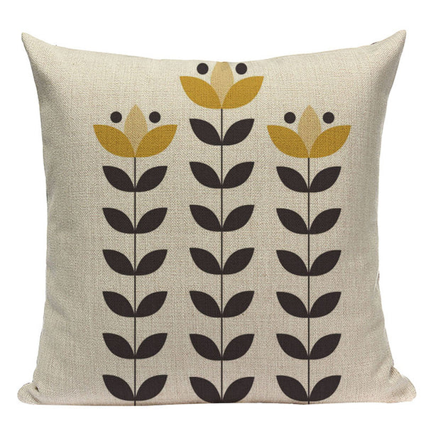 Modern graphic cotton linen small flower cushions