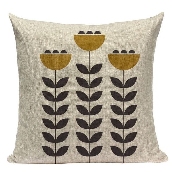 Modern stylish graphic flower cushion covers
