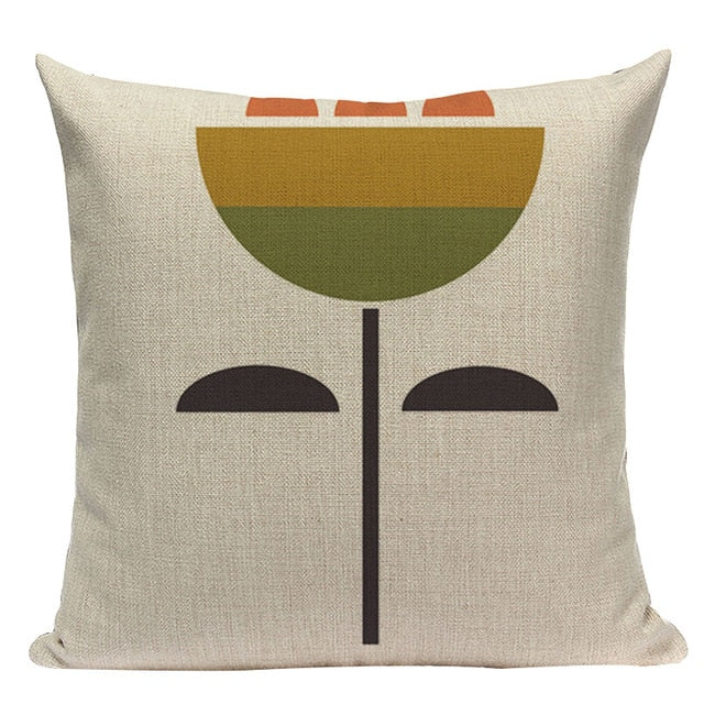 Modern graphic cotton linen large single flower cushions