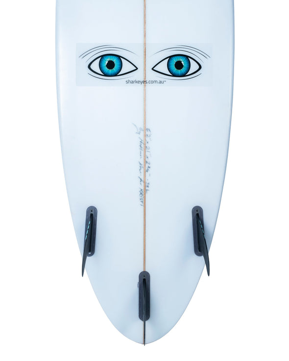 Shark-Eyes-visual-shark-deterrent-clear-sticker-on-surfboard
