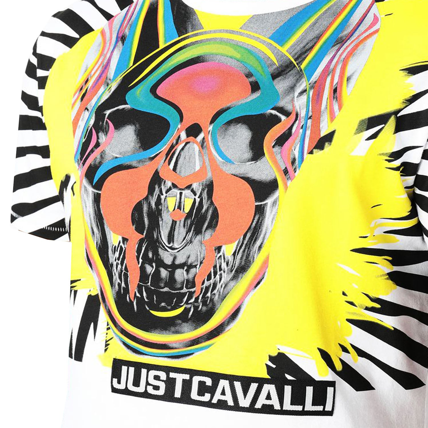 Just Cavalli Front Pop-Skull Print T-Shirt