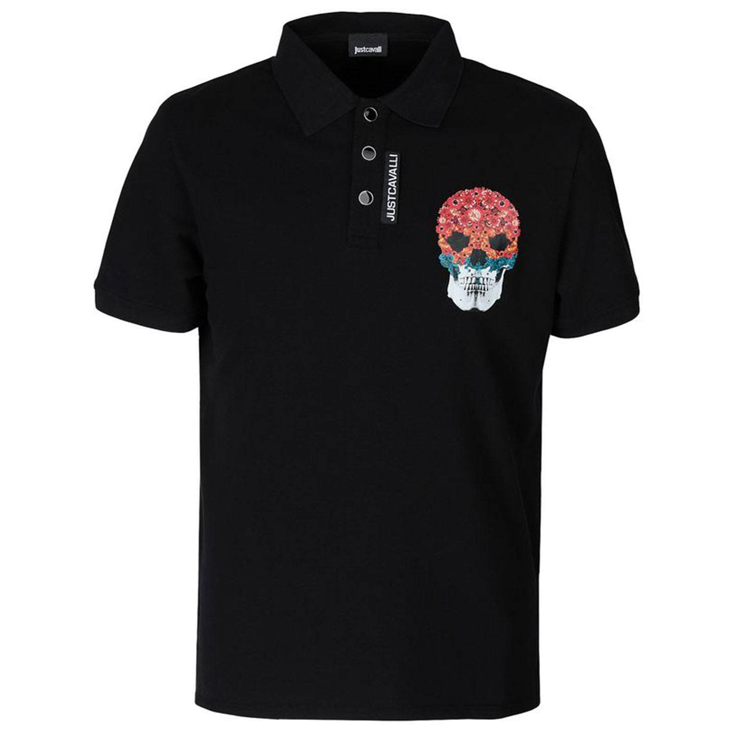 Just Cavalli Flower-Skull Print Polo T-Shirt