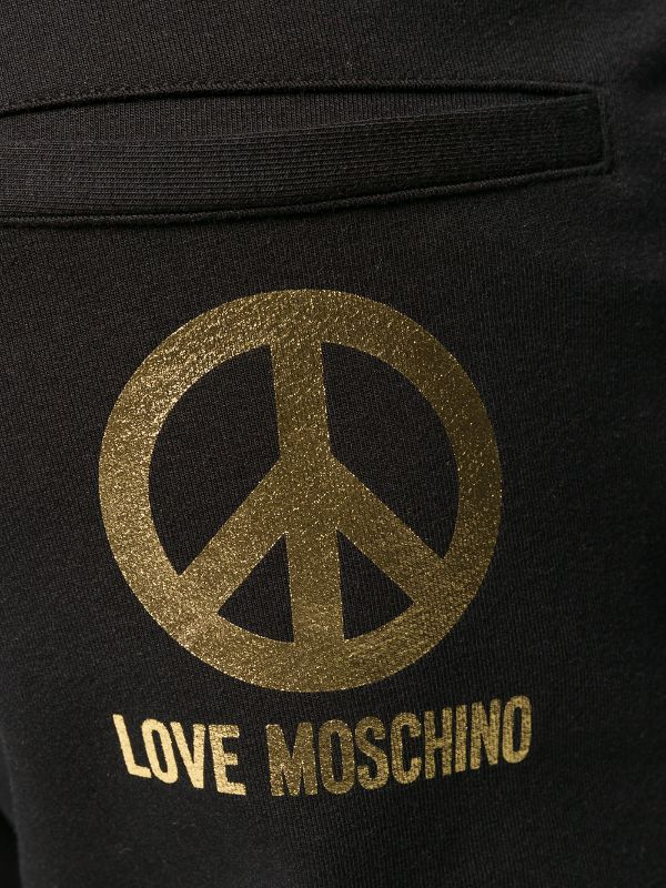 Love Moschino Foil Print Track Pants Black