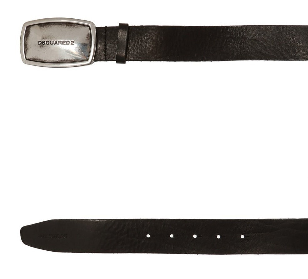 DSquared2 Silver Tone Embossed Logo Buckle Belt