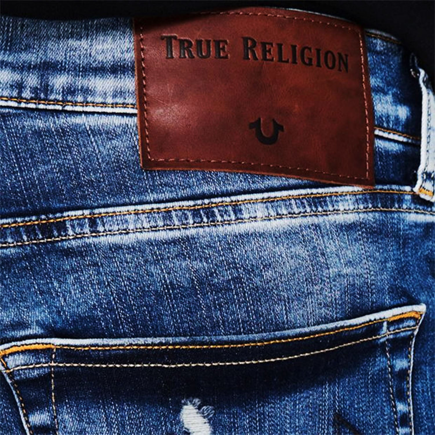True Religion Rocco Ripped Traditional Blue Jeans