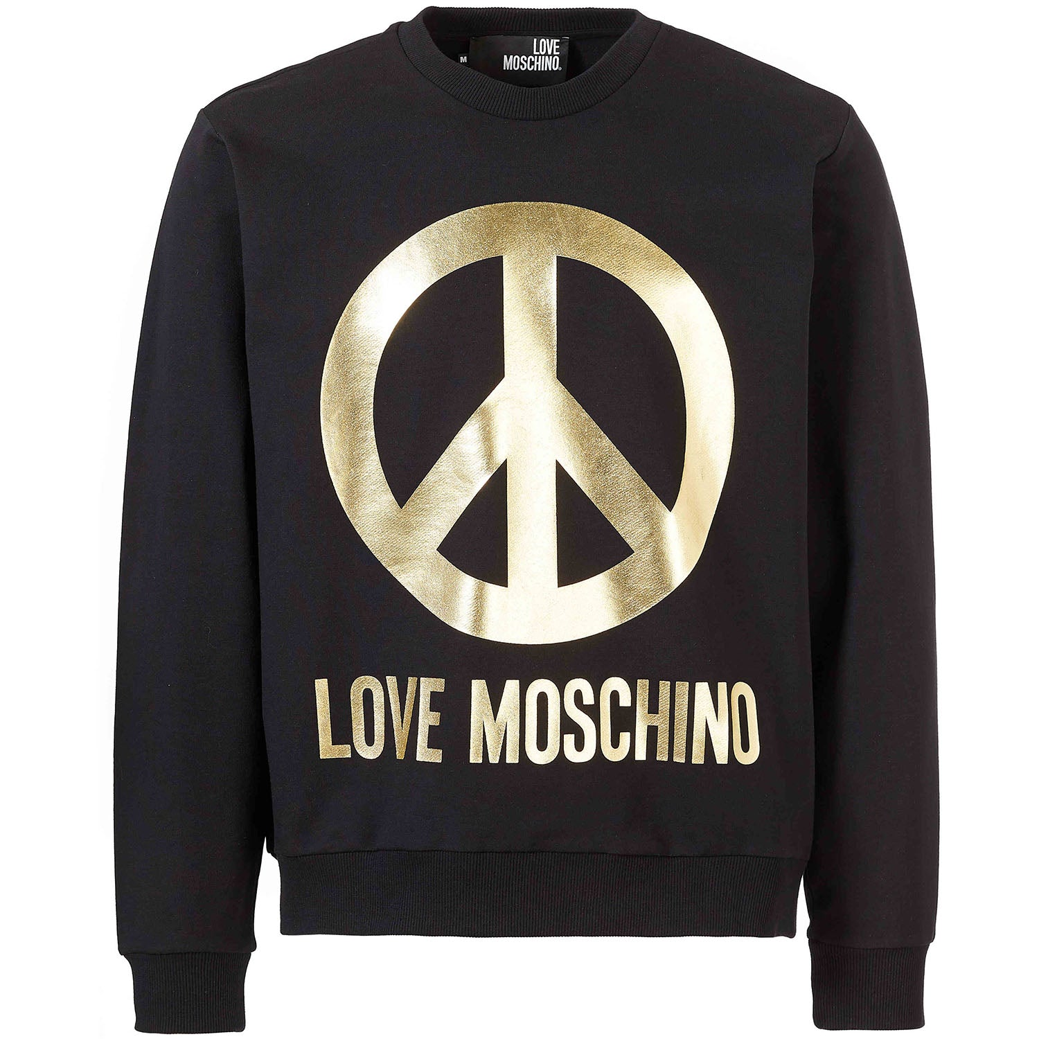Love Moschino Gold Reflective Peace Logo Sweatshirt