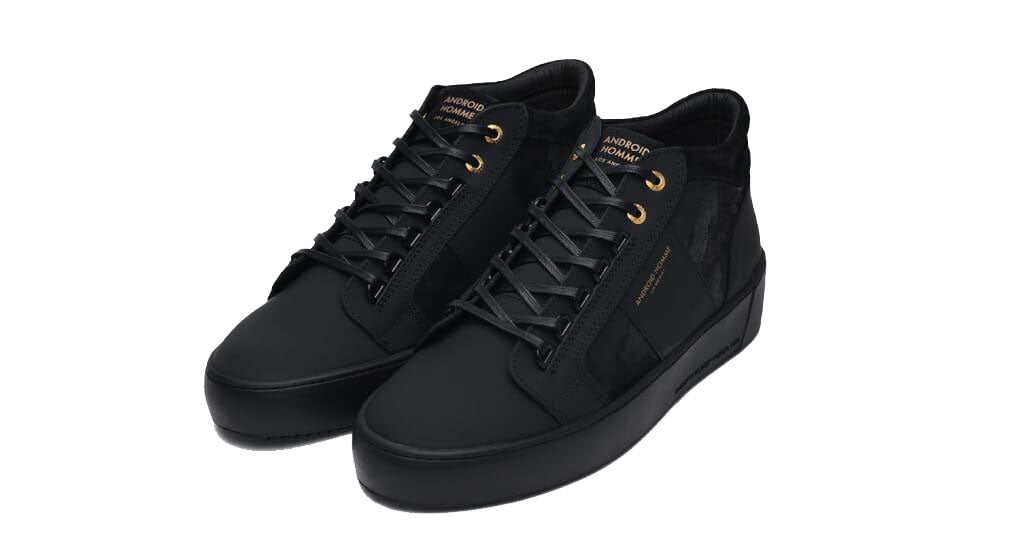 Android Homme Propulsion Mid Geo Black Leather Sneakers