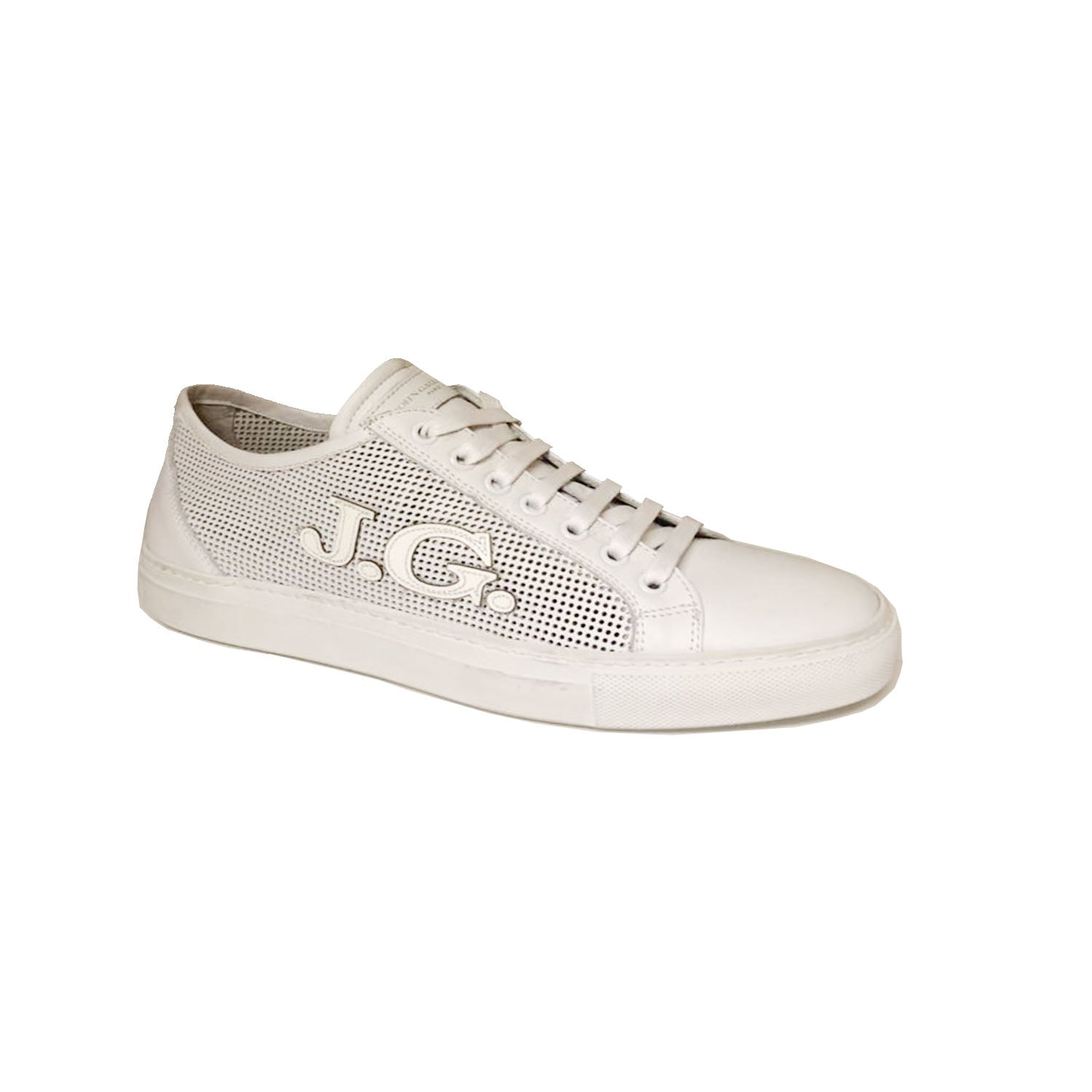 John Galliano Rubberised Logo Detail Bianco Trainer