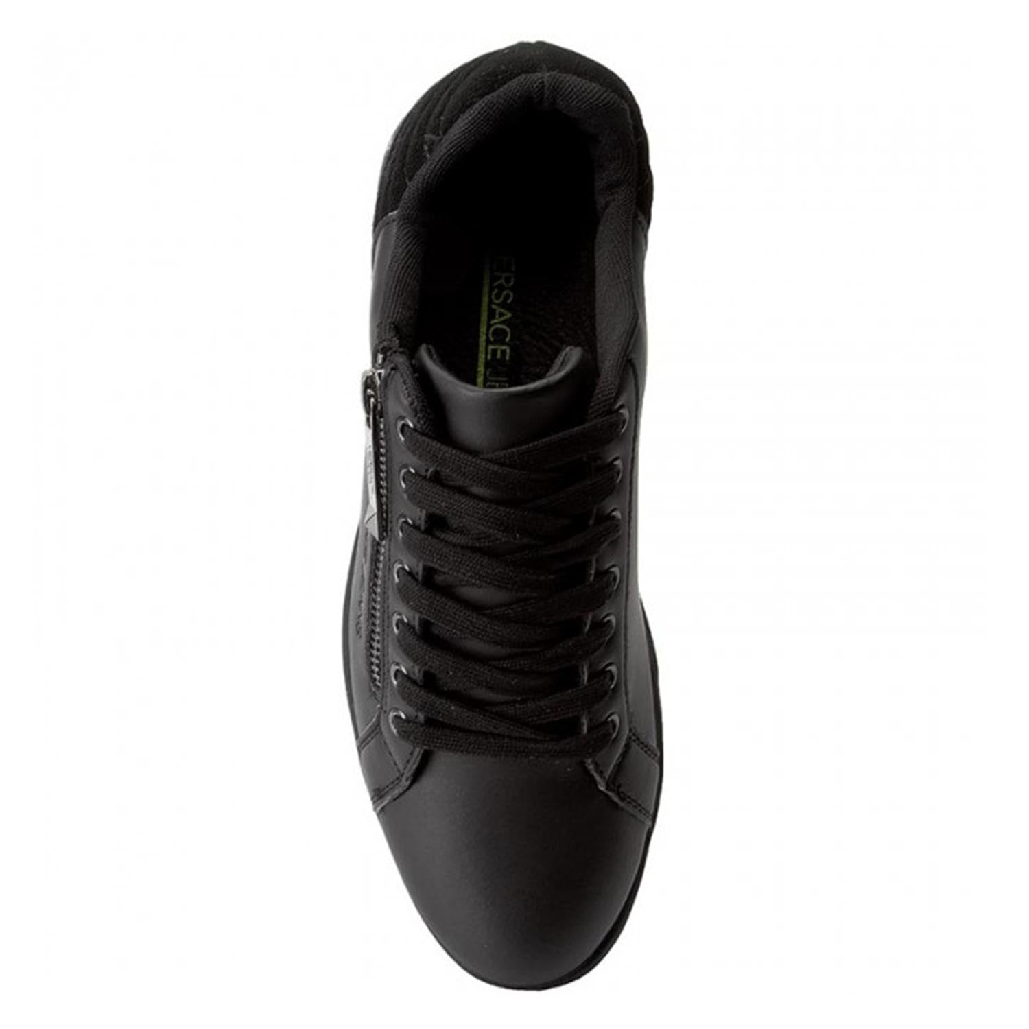 Versace Jeans Zip Detail Suede Leather Trainer