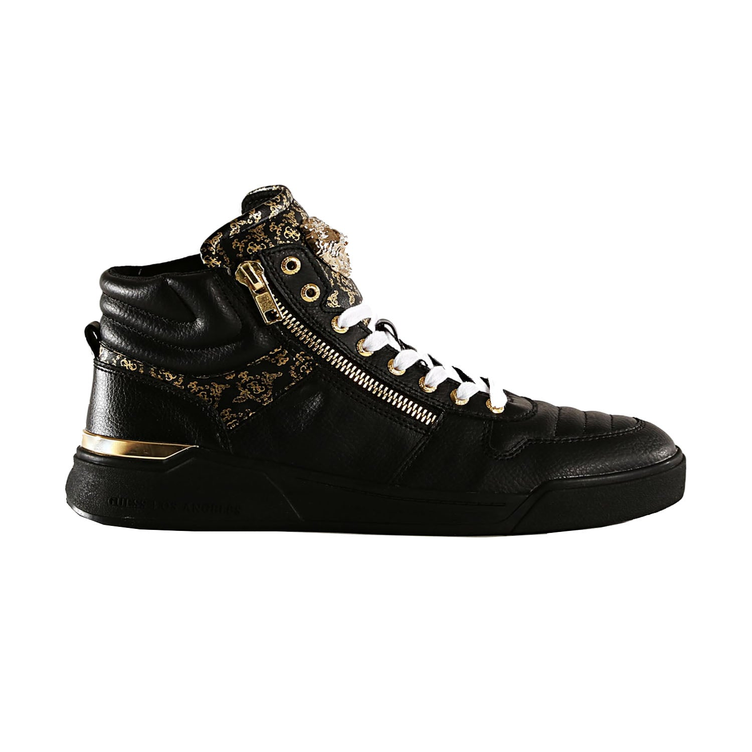 Guess Gold Motif Detail Leather Trainer