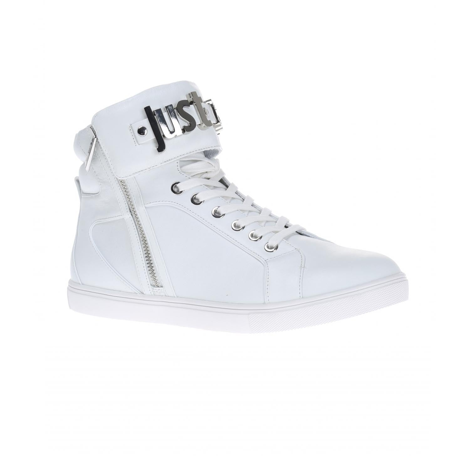 Just Cavalli Metal Branding High Top Leather Trainer