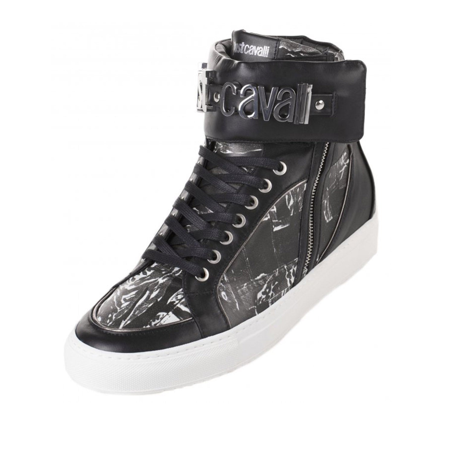 Just Cavalli Silver Metal Logo Detail High Top Trainer