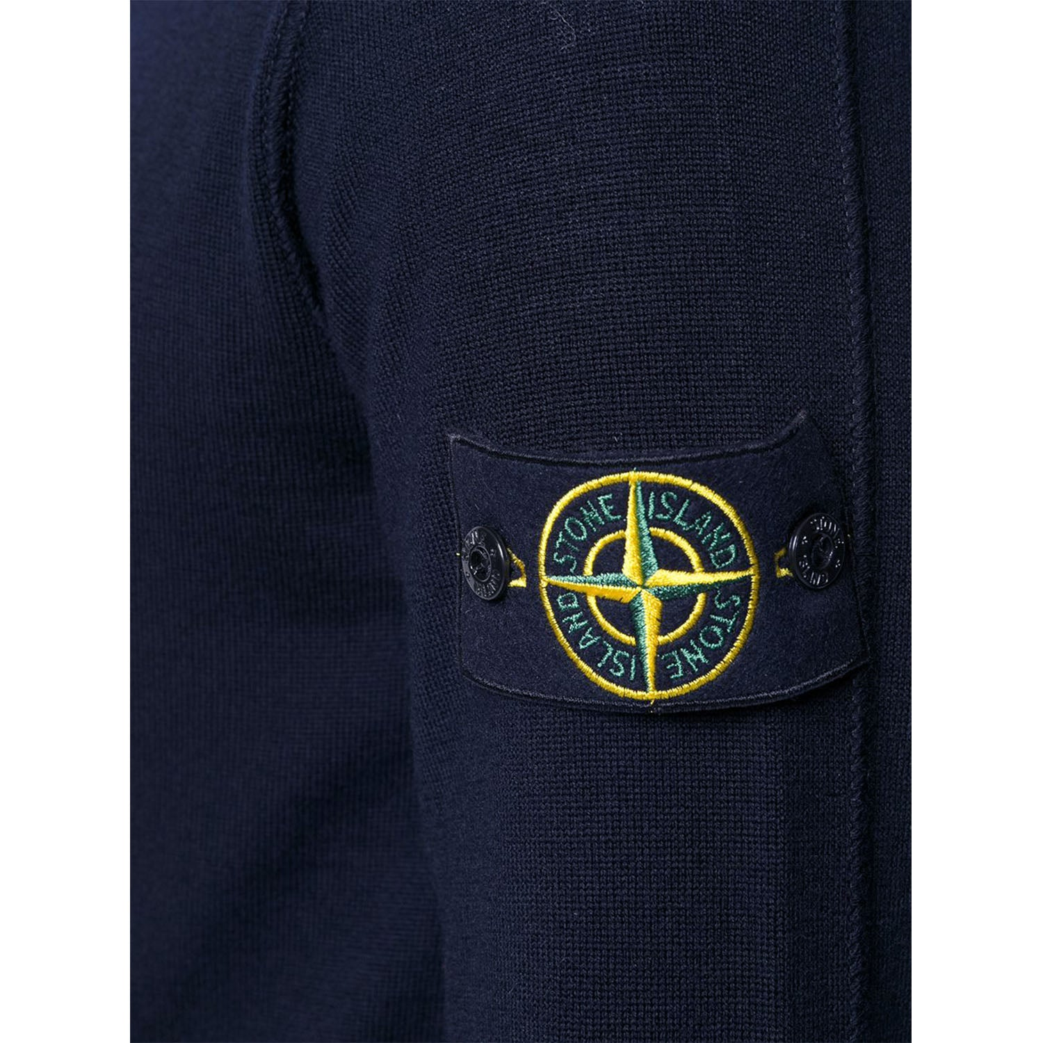 Stone Island Badge Logo Wool Knit Navy