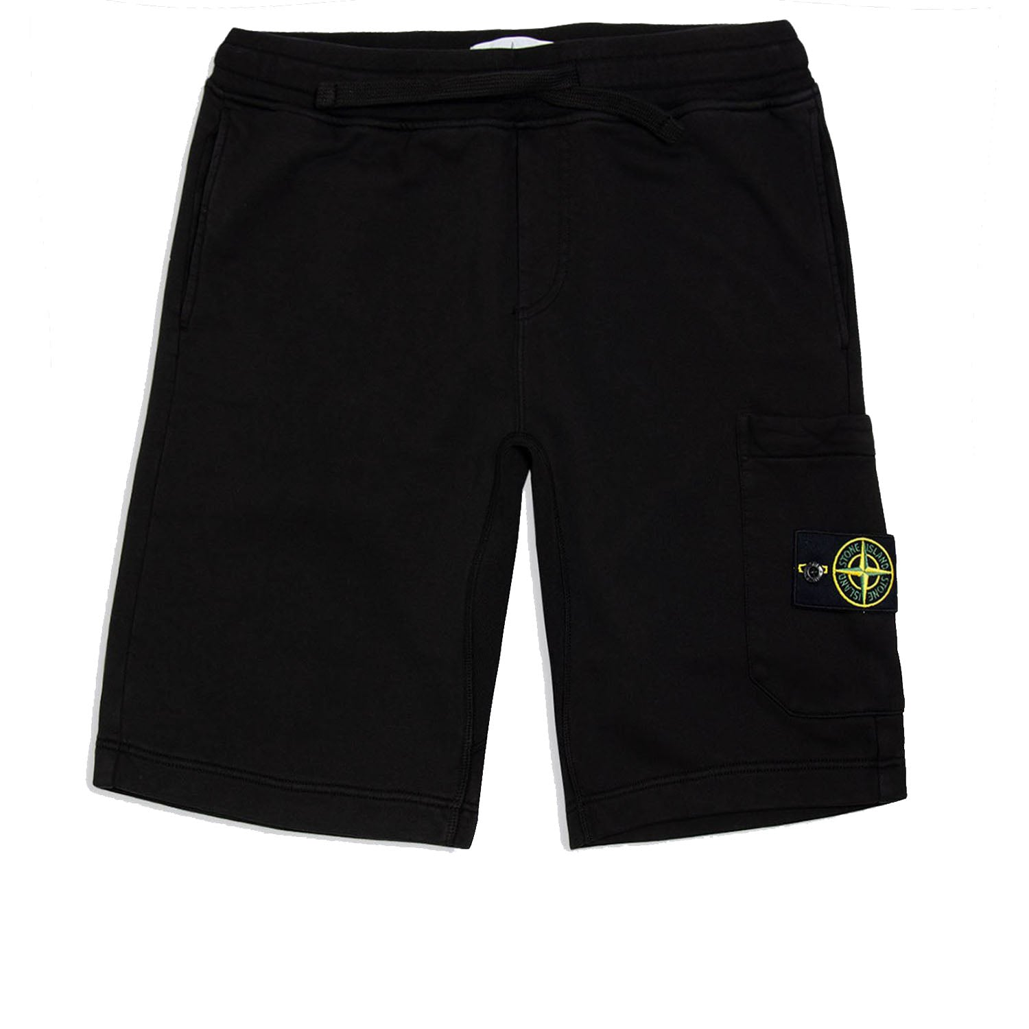 Stone Island Logo Fleece Sweat Shorts Black