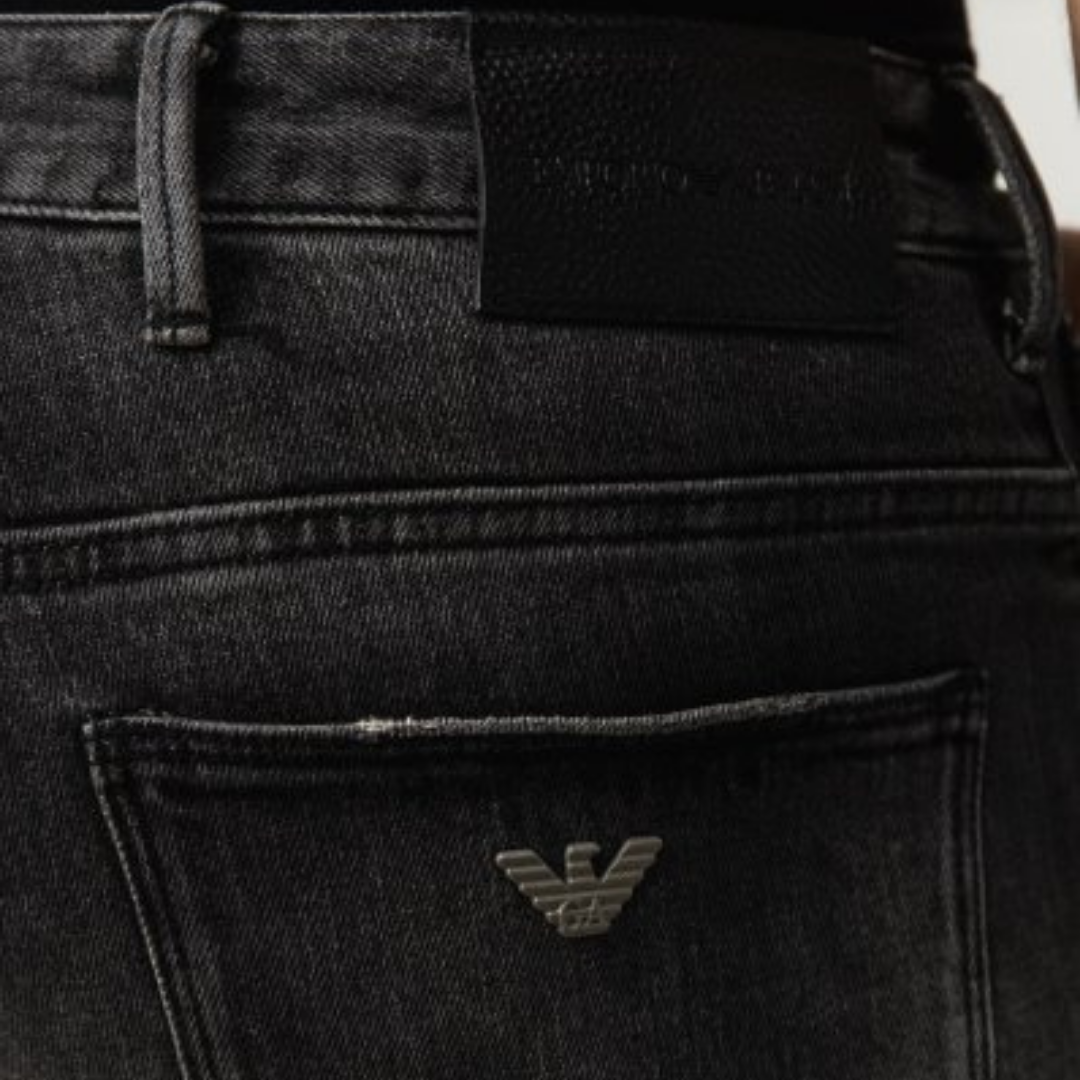 Emporio Armani Nero Distressed Washed Jeans