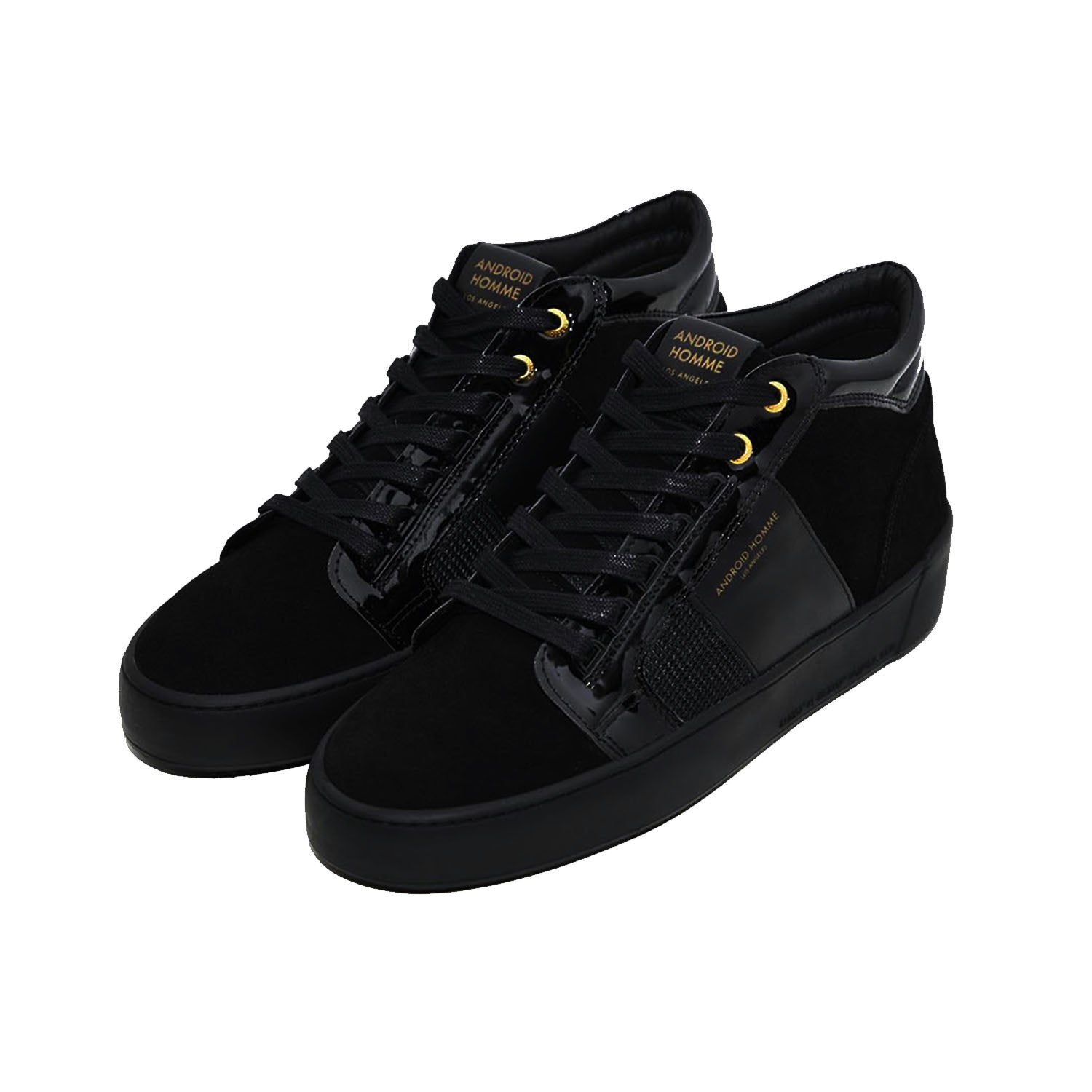 Android Homme Propulsion Mid Geo Black Patent Suede Trainer