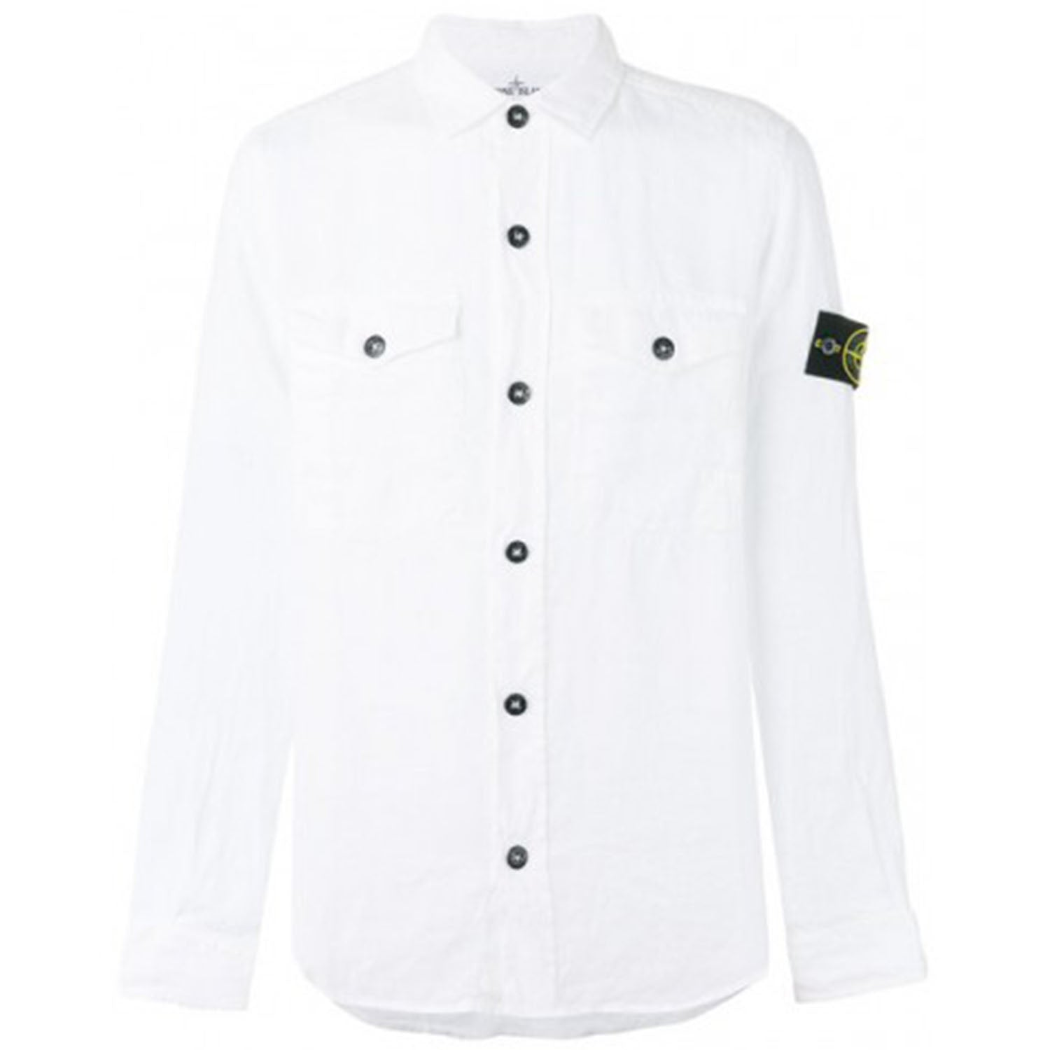 Stone Island Compass Badge Logo White Shirt