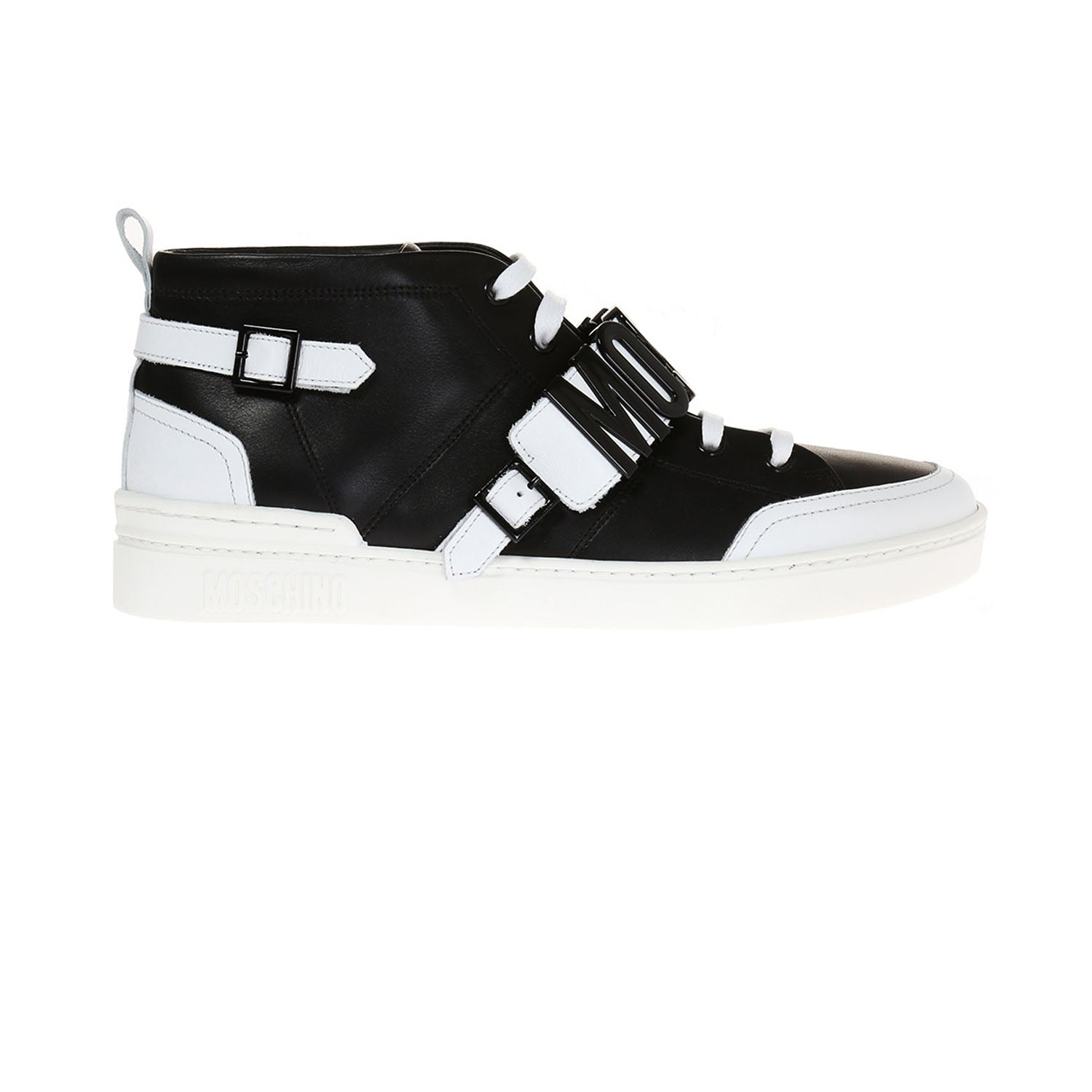 Moschino Black and White Lace-Up Leather Trainer
