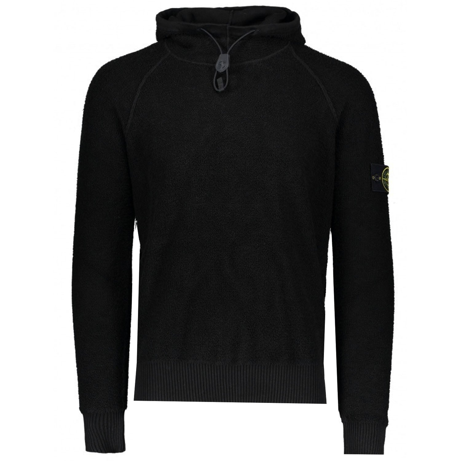 Stone Island Badge Logo Hooded Knit Black