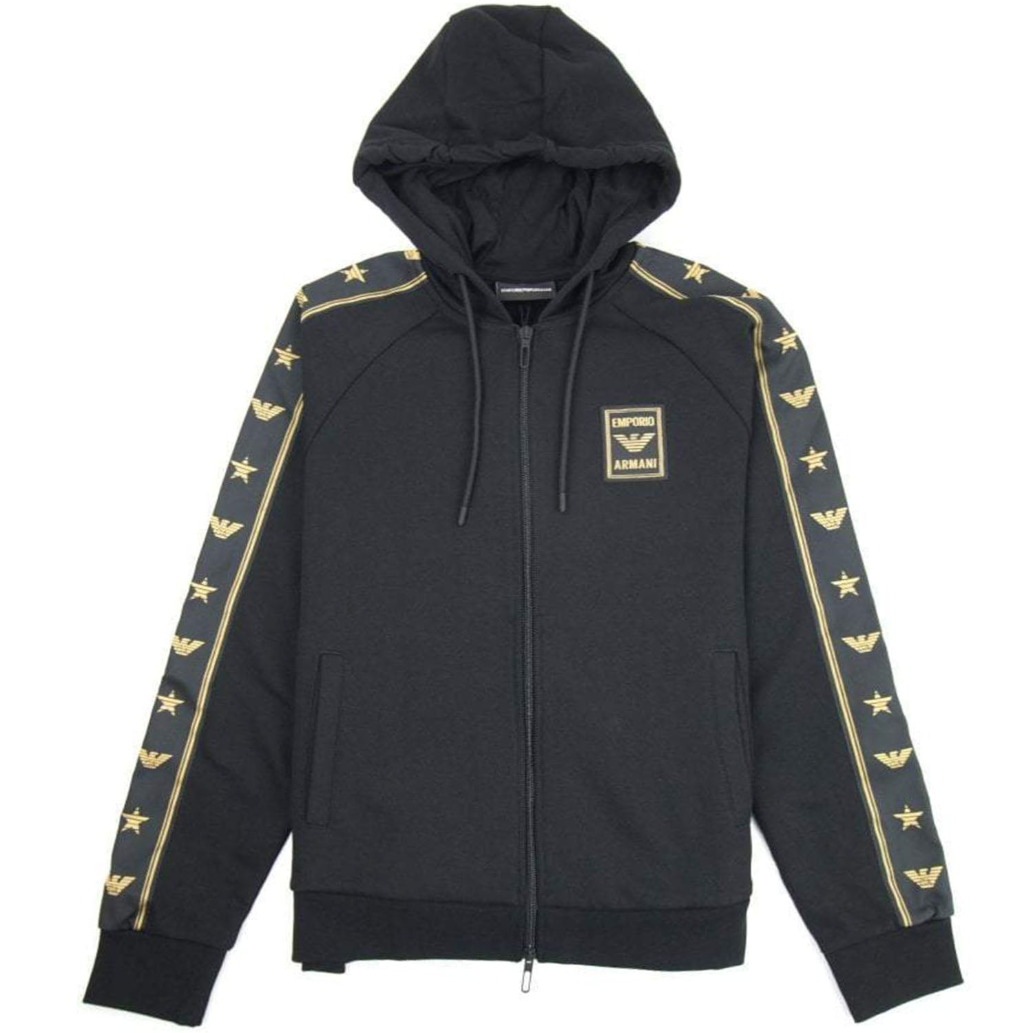 Emporio Armani Zip Black Hooded Sweatshirt