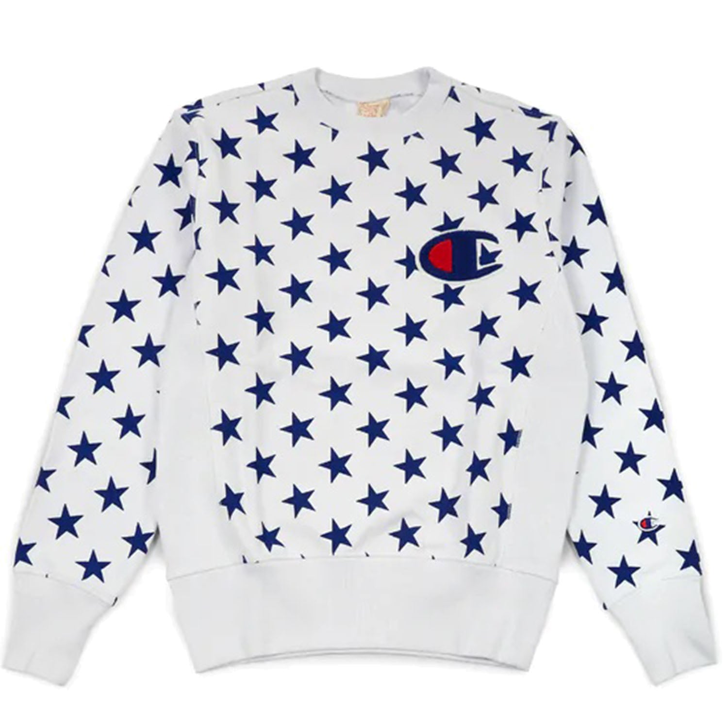 Champion All Over Star Print White Sweatshirt