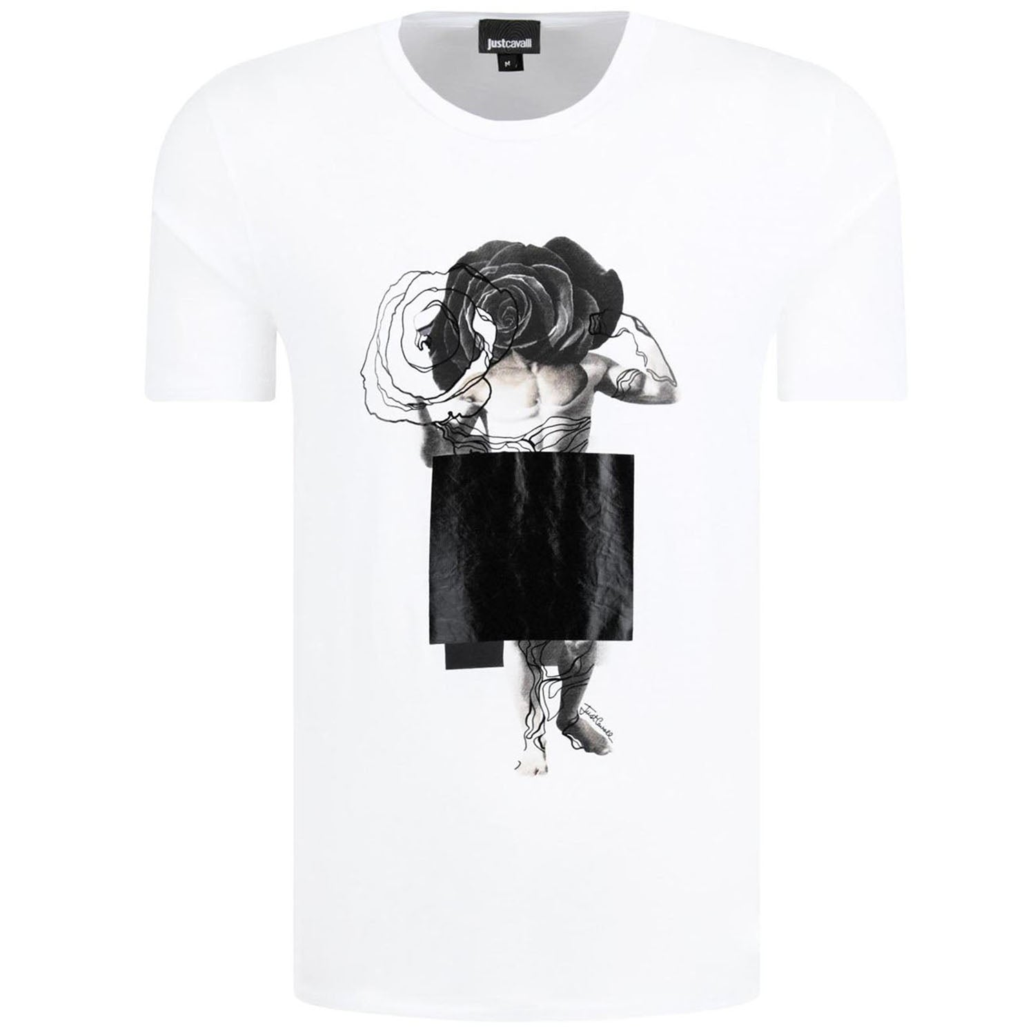 Just Cavalli Front Floral Print White T-Shirt