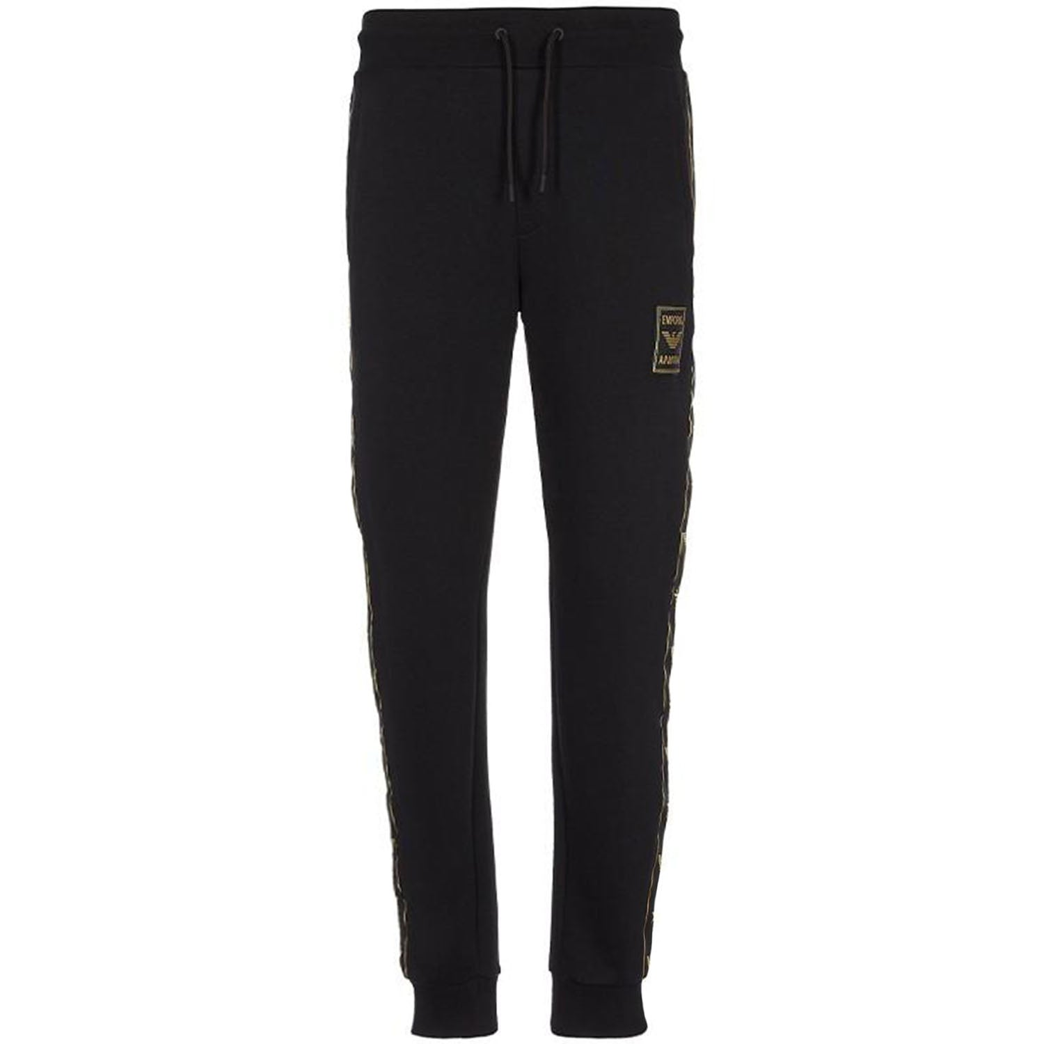 Emporio Armani Gold Tape Black Jogging Sweatpants