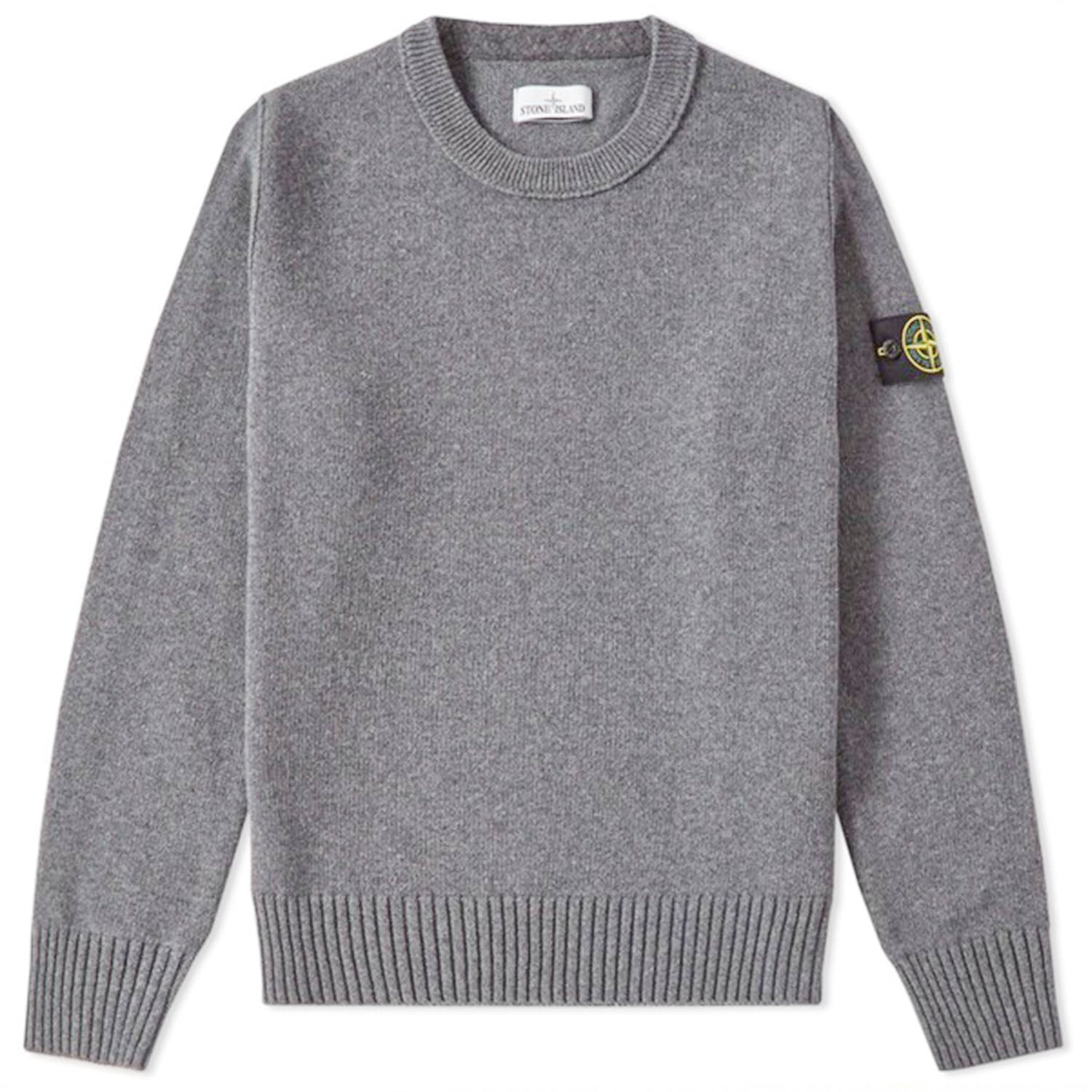 Stone Island Badge Logo Lambs Wool Crew Knit