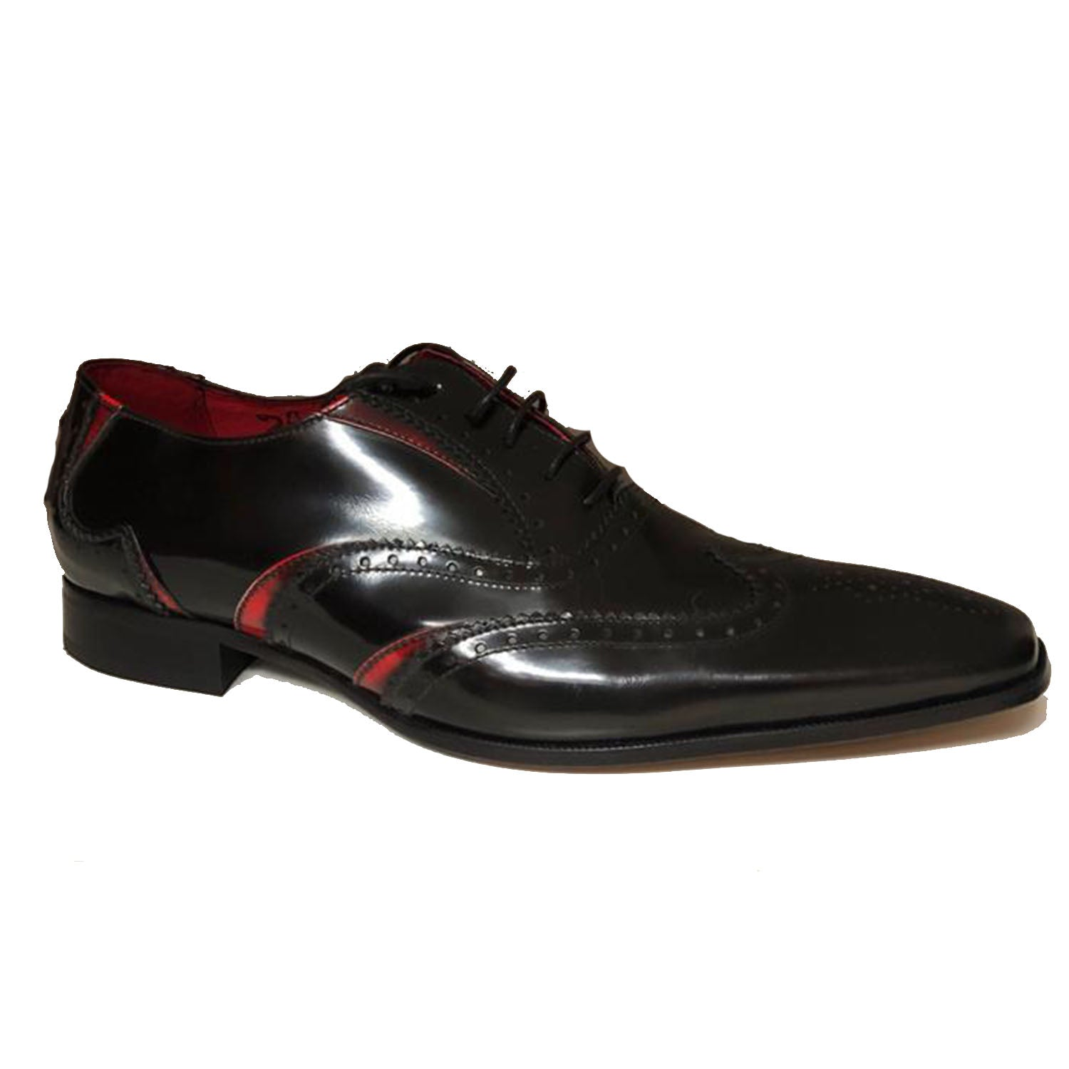 Jeffery West Black Red Lace up Brogue Shoe