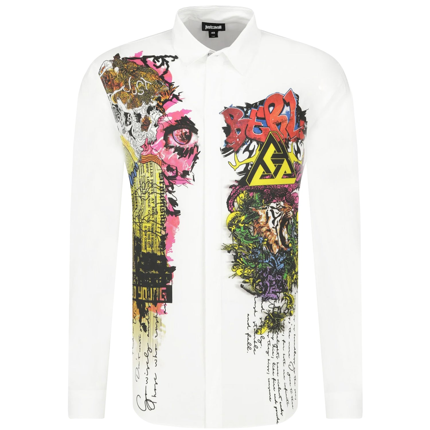 Just Cavalli Graffiti Print White Shirt
