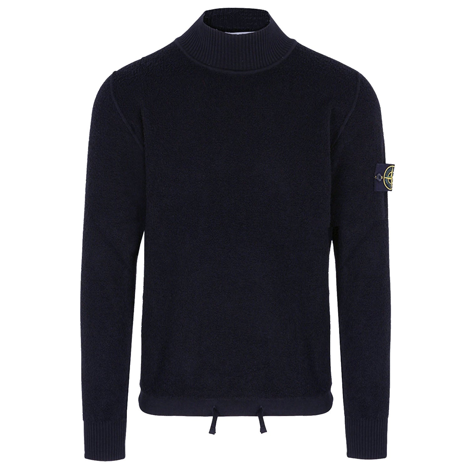 Stone Island Badge Logo High Neck Knit Navy