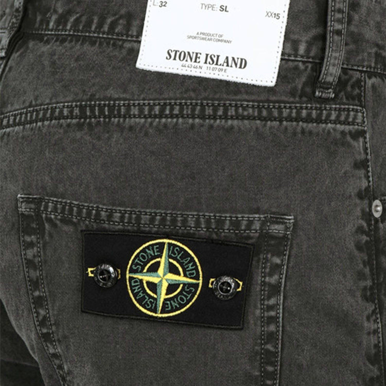 Stone Island Badge Logo Slim Fit Grey Jeans