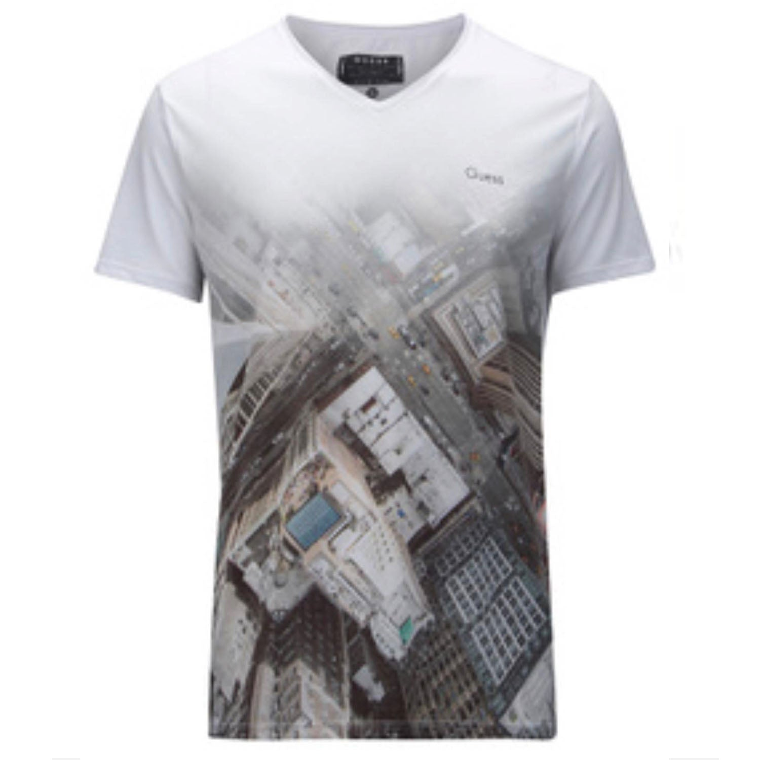 Guess Slim Fit V Neck Printed T-Shirt