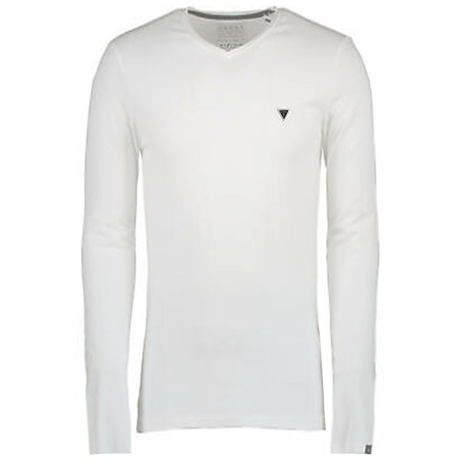 Guess Embroidered Logo V Neck Long Sleeve T-Shirt