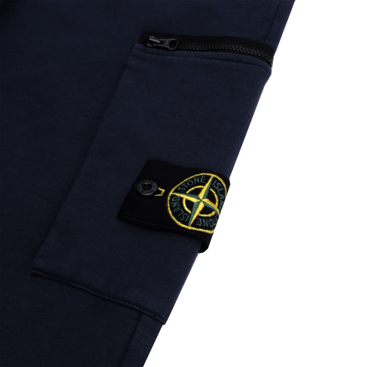 Stone Island Logo Zipped Fleece Sweatpants Navy