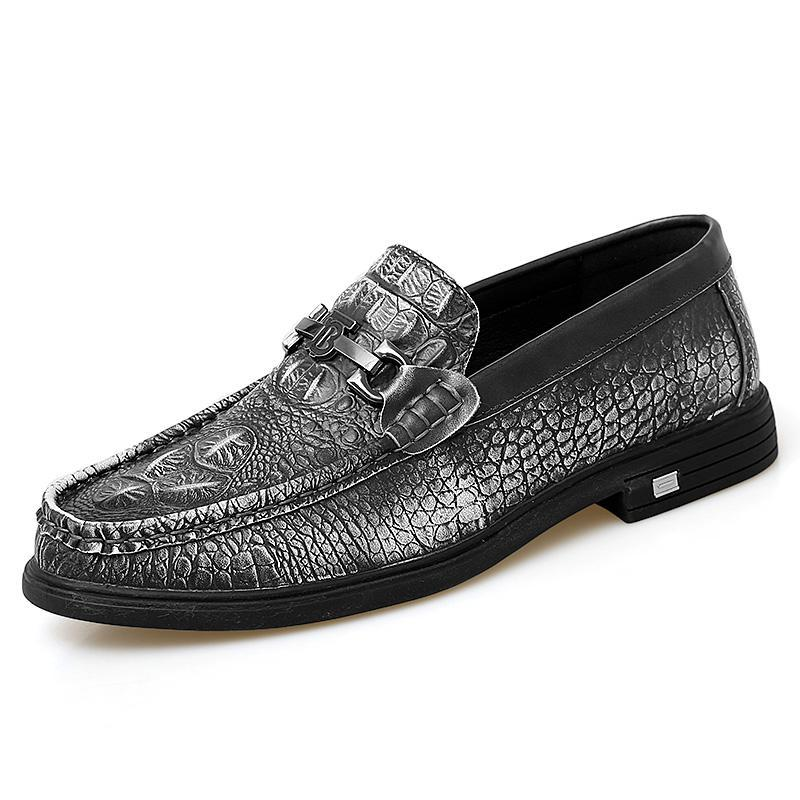 Crocodile Pattern Leather Loafers - Zap Shoe