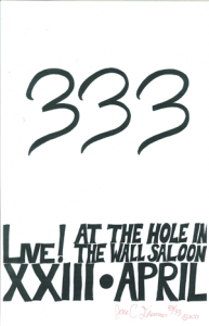Poster 0000006 - 333 - Live! At The Hole In The Wall Saloon - 2003.04.23 (Poster)